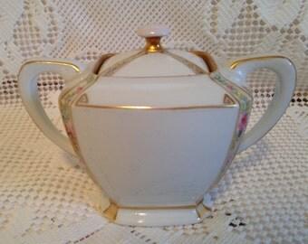 Sugar Bowl With Lid, Covered Sugar Bowl, Vintage Sugar Bowl, White Sugar Bowl, White With Pink And Green Floral, Tea Party, Bridal Shower