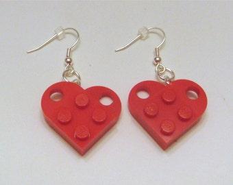 BrickCrafts LEGO® Fashion Heart Dangle Earrings
