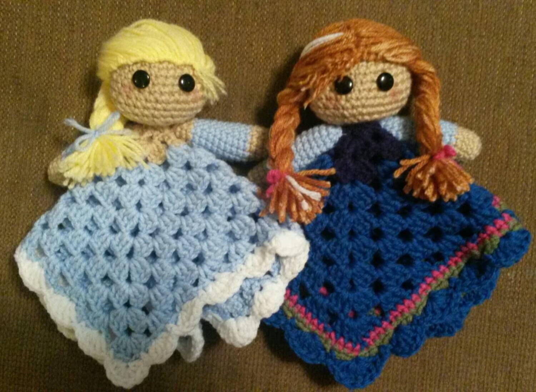Crochet Amigurumi Frozen inspired doll lovey Elsa Anna