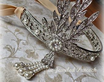 WEDDING bride, headpiece, tiara, crown, great gatsby, headband, rhinestone, pearl, bride, bridal, victorian, vintage 20's, flapper, fall
