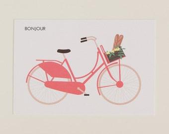 Bonjour - postcard typical Dutch bike flowers illustrated