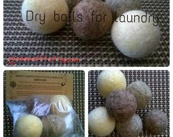 Felt Wool Dryer Balls - Set of 4 - Natural Eco Friendly Laundry