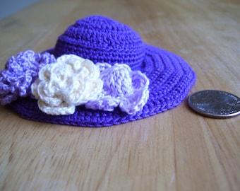 Pincushion/Home Decor Hand Crocheted Purple Hat