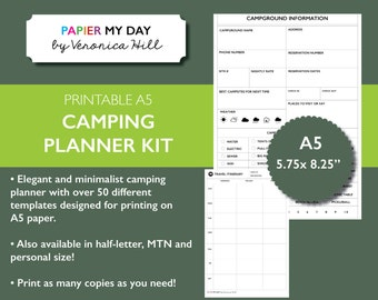 A5 Filofax Camping Planner Kit - Minimalist Design - Packing Lists - Itinerary - Meal Planner