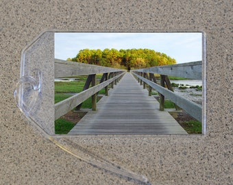 Uncle Tim's Bridge Luggage Tag Name Address Bag Tags, Wooden Walkway Foot Bridge Boardwalk Tims Island Wellfleet MA Cape Cod Summer Nautical