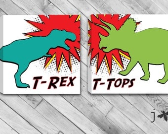 Set Of 2 Comic Book inspired T-Rex and T-Tops - Dinosaurs Mounted Canvas Wall Art