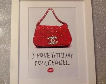 "Swarovski Chanel Handbag Picture 14"" x 11"""