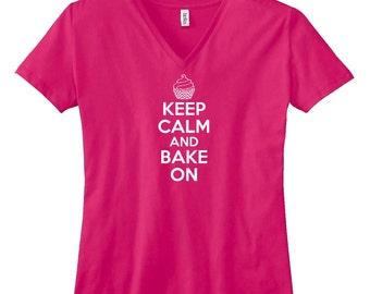 Keep Calm And Bake On V-Neck T Shirt. Womens V Neck Shirt. Baking T Shirt. Cooking. Cupcake Baking. Gift For A Baker. B544