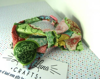 Cat bow // pink and green fabric