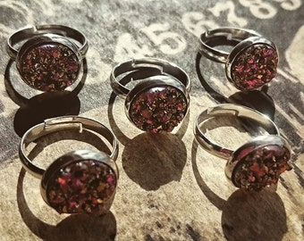 Sunset Rose silver Faux Druzy Ring 12mm