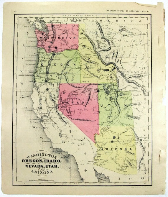 Original 1866 Map Of Washington Oregon Idaho Nevada Utah