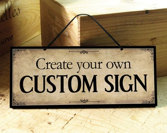 Custom Signs in Beige & Black. Vintage. Custom Wedding Sign. Coffee Shop Sign. Family Name Sign. Office Sign. Wedding Sign. Fathers Day Gift