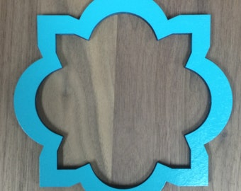 Unfinished Wood Laser Cut Decorative Frame/Plaque Combo, Style 2, *Frame & Middle* Ready to Paint, Wood Wreath Accent, Sign Blank