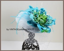 New! GIRLS BIRDCAGE veil fascinator hat for Weddings, Flower Girl, Derby Hat, Easter Turquoise/Aqua hair accessories by VintagePatternsDepot