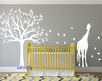 Nursery wall decals Tree wall stencil White tree wall decals Giraffe wall stencils Tree wall decal for nursery White nursery wall mural