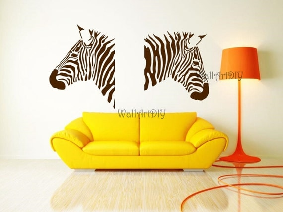 zebra wand aufkleber zebra wand aufkleber zwei zebras wand. Black Bedroom Furniture Sets. Home Design Ideas
