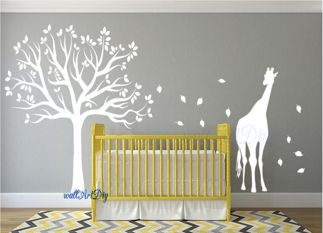 Nursery wall decals tree wall stencil white tree wall decals for Baby nursery mural