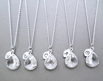 Set of 1-10, clear, crystal, silver, necklace, set, jewelry, set, bridesmaid, necklace, set, bridal, jewelry, bridal, necklace, wedding