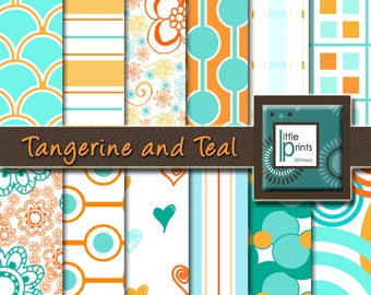 Digital Paper - Tangerine and Teal, Digital Scrapbook Paper, Orange and Teal Paper, Orange Scrapbook, Teal Scrapbook