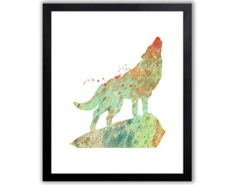 Wolf Art Print - Watercolor Animal Wall Art - Howling Wolf - North American Decor - Native American Decor - Tribal Wall Art - WA070