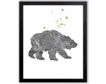 Bear Print, Gold Nursery Decor, Tribal Nursery Art - B207