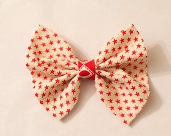 Red and white Star Christmas Bow
