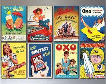 Vintage Advertising Posters Fridge Magnets - Set of 8 large fridge magnets