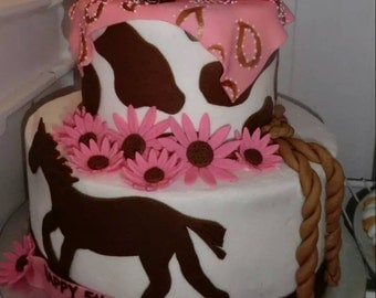 Handmade Fondant Cowgirl Boots Horse Cake Topper Set