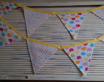 Bunting Flags, Bunting Banner, Elephants & Hearts, Baby Room Gift, Children's Room, Nursery Bunting, Playroom Decor, Bunting Wall Hanging