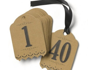 Rustic Table Number Cards with Black Ribbon 1-40