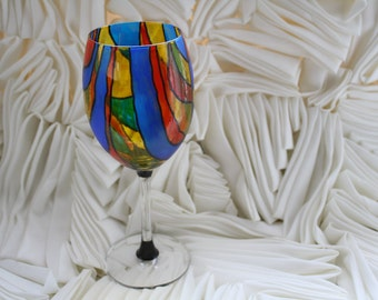 Hand Painted Stain Glass Wine Glass