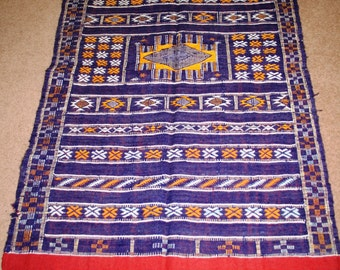 Handwoven Moroccan Berber Rug, Blue With Orange And White Geometric Design