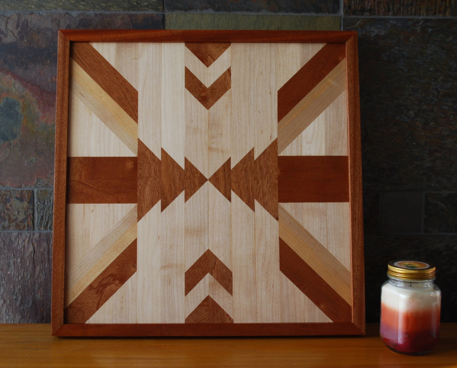 Native american geometric design wood wall art navajo tribal for Designer wall art