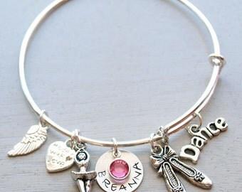 Dance Ballet Ballerina Personalized Hand Stamped Adjustable Wire Bangle Bracelet