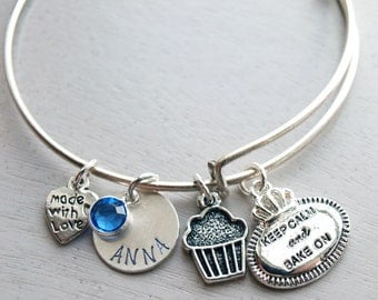 Keep Calm and Bake On Personalized Wire Bangle Bracelet