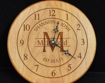 Laser Engraved Wall Clock/ Wedding Gift