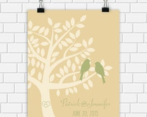 Custom Wedding Printable Personalized Date Print Typography Art Love Birds Tree Art Print, Digital Print Sandalwood Olive Green Choose Size