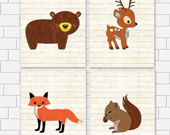 Nursery Printable Woodland Animals Squirrel Fox Deer Bear Rustic Print Wall Art, 5 x 7 Instant Download