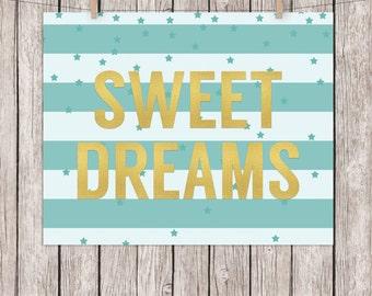 8x10 Nursery Printable Sweet Dreams Gold Turquoise Art Print  Wall Art, 8x10 Instant Download Digital File