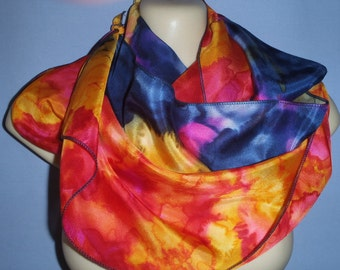 Hot Pink/Yellows/ Red/ Navy  Exclusive Pure Silk Hand Painted Scarf