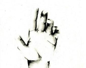 "Art Print: ""Hand"" Art Print   8.5 x 11""   Charcoal Drawing   Black and White Art, Illustration"