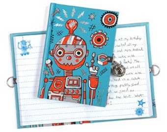 "Robot  "" Authentic Self"" Journal with Lock & Key -Robot"