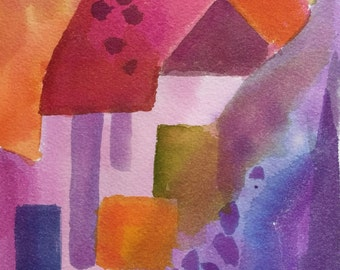 """Original-Geometrical abstract- signed watercolor, 9"""" x 6"""""""