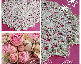 Crochet Doily  Handmade Ivory color diametr 95cm by Patricia Kristoffersen