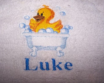 Personalised embroidered   bath towel Cute Duck in a blue bath (100% cotton)
