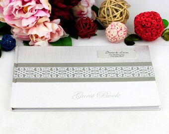 Personalised Guest Book with Plaque - Wedding/Engagement