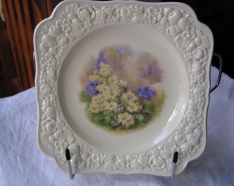 Crown Ducal Square Plate Florentine in Cream & Floral