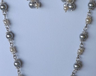 Silver Pearl Bridal Necklace & Earring Set
