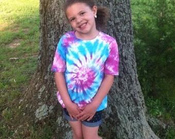 Childs Tie Dye shirt, youth shirt, Size Large, Boys or girls shirts, Size 12, tie dye handmade, swirl shirts, rainbow colors, colored shirts