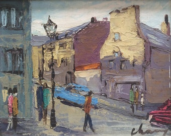 Mid Century Modern Original Painting, Cityscape